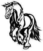 Running draft horse black white — Stock Vector