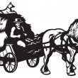 Rural horse drawn cart - Grafika wektorowa