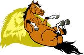 Resting cartoon horse — Stock Vector
