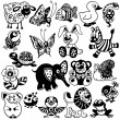 Stock Vector: Set of black white pictures for children