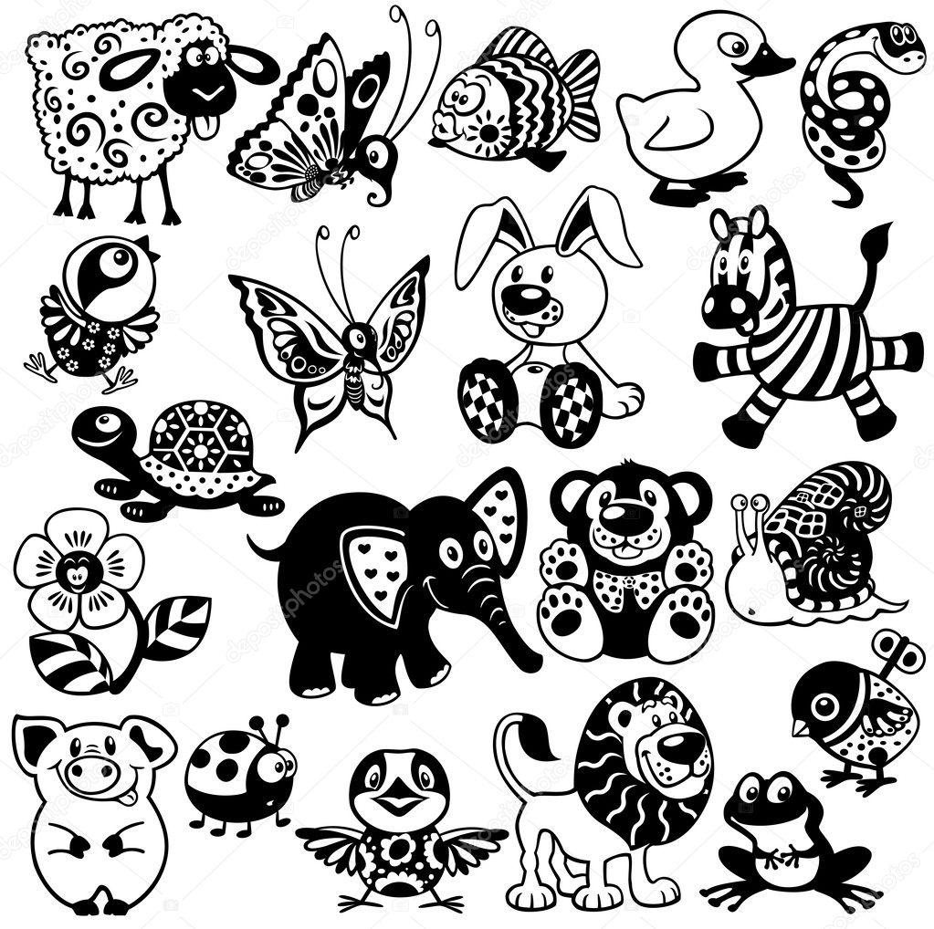 卡通动物和玩具
