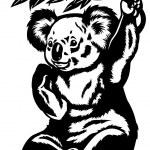 Koala bear black and white — Stock Vector