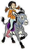 Menina dos desenhos animados com burro — Vetorial Stock