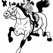 Cartoon girl riding horse black white — Stock Vector