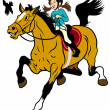 Cartoon Girl Riding Horse — Stock Vector