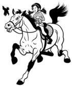 卡通女孩骑乘马黑白色 — 图库矢量图片