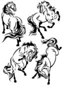 Set of horses tattoo — Stock Vector