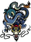 Blue dragon tattoo — Stock Vector