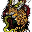 Stock Vector: Dragon And Tiger Tattoo