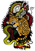 Dragon And Tiger Tattoo — Stock Vector