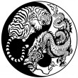 Dragon and tiger yin yang symbol — Stock Vector