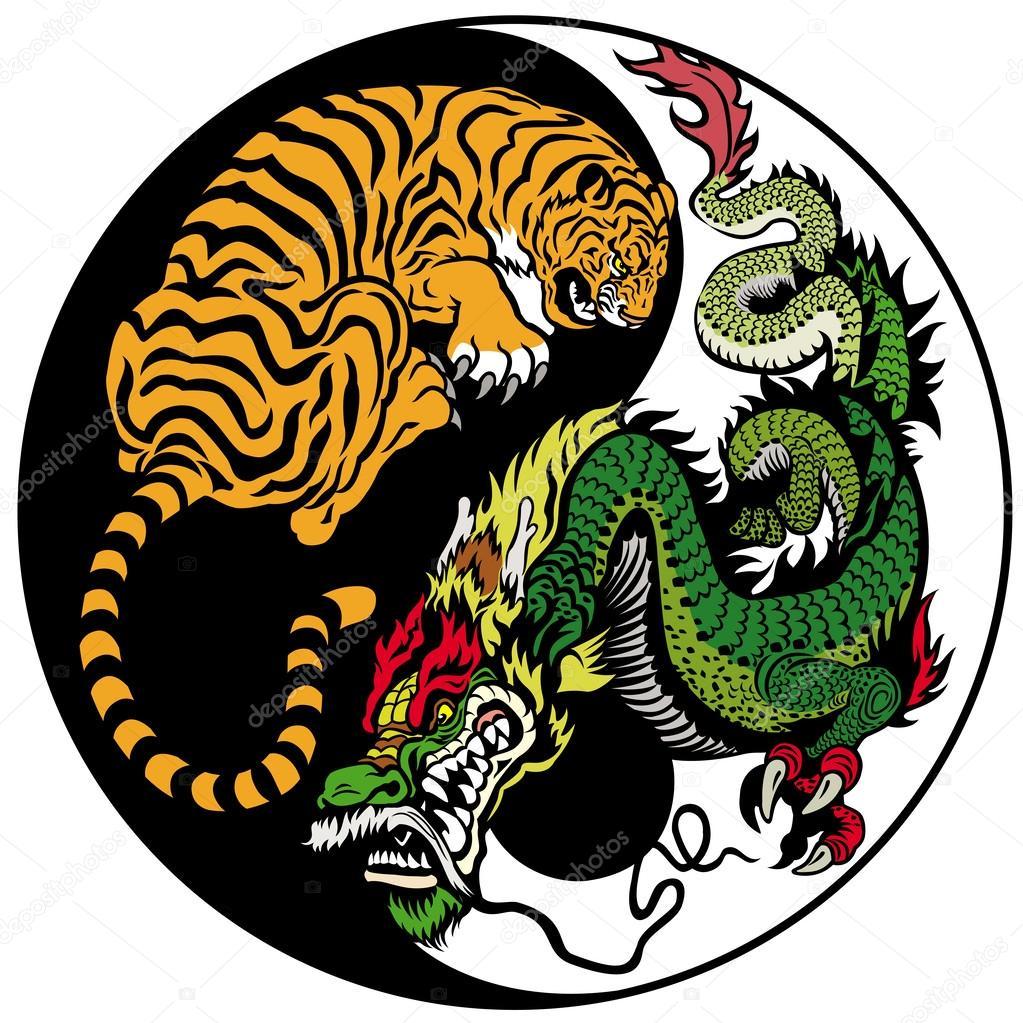 Dragon and tiger yin yang symbol — Stock Vector © insima #35394369
