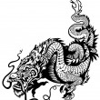 Stock Vector: Chinese dragon black white