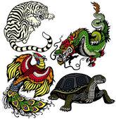 Celestial feng shui animals — Stock Vector