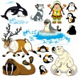 Stock Vector: Set with cartoon arctic