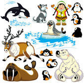 Set with cartoon arctic — Stock Vector