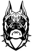 Boxer dog head black white — Stock Vector