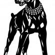 Doberman Pinscher Black White — Stock Vector