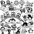 Stock Vector: Set for little kids black white