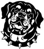 Rottweiler head black white — Stock Vector