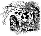 Basset hound in forest — Wektor stockowy
