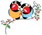 Coppia di uccelli dei cartoni animati — Vettoriale Stock