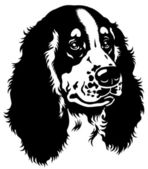 Spaniel head black white — Stock Vector
