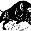 Angry bull black and white — Stock Vector #41812005
