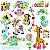 Set with animals toys — Stock Vector