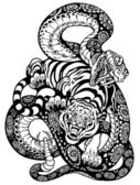 Serpiente y tigre luchando — Vector de stock