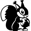 Cartoon squirrel black white — Stock Vector