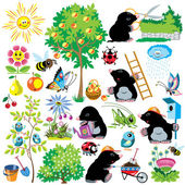 Set with mole gardener — Stock Vector