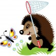 Hedgehog catching butterfly — Stock Vector
