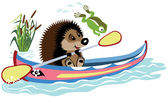 Hedgehog padding in a kayak — Stock Vector