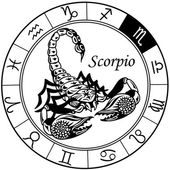 Scorpion zodiac black white — Vecteur