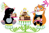Mole and hamster eating birthday cake — Stock Vector