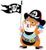 Cartoon hamster pirate — Stock Vector