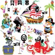 Cartoon set with pirates — Stock Vector #49136141