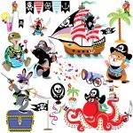 Cartoon set with pirates — Stock Vector
