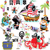 Cartoon set with pirates — Stock Vector
