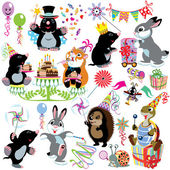 Cartoon set with birthday party of mole — Stock Vector