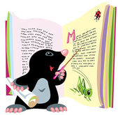 Mole reading book — Stock Vector