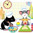 Mole and mouse preparing dough — Stock Vector #50173163