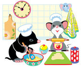 Mole and mouse preparing dough — Stockvector