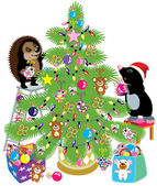 Mole and hedgehog decorating a christmas tree — Stock Vector