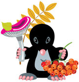 Cartoon mole holding mushroom and ash berry — Stock Vector