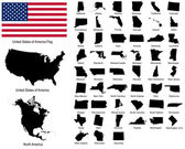 Vectors of USA states — Vettoriale Stock