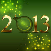 Nya 2013 års kort med tecknad orm istället 0. — Stockvektor