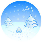 Winter scenery with fir trees vector illustration. — Stock Vector