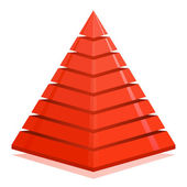 Red pyramid design element — Stock Vector
